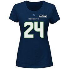 69dc2e076 Marshawn Lynch Seattle Seahawks NFL Women s Name  amp  Number Fair Catch T- shirt Navy