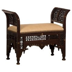 Shop benches and other antique and modern chairs and seating from the world's best furniture dealers. Victorian Furniture, Wooden Furniture, Cool Furniture, Moroccan Design, Moroccan Decor, Modern Bench, Modern Chairs, Vintage Bench, Sofa Set