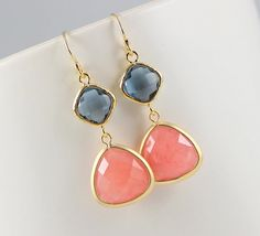 Coral Earrings Sapphire Gold Earrings, Bridesmaid Earrings, Bridal Jewelry, Wedding Earrings, Bridesmaid Gift Wedding Gift Peach on Etsy, $26.85