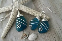 Handmade in Hawaii, Wire wrapped teal blue sea glass necklace + earrings jewelry set, Sterling silver chain, Beach jewelry gift. by yinahawaii on Etsy