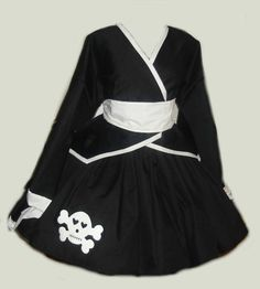 Gothic Skull Kimono Jacket Skirt and Obi Sash with Bow made to measure $250