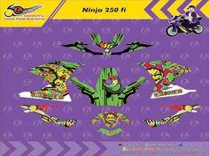 Custom Decal Vinyl Full Body Striping Motor Kawasaki Ninja 250 FI Thema Moon & Sun Rossi Hijau Stabillo dan Yellow Stabillo by DIGITIVE