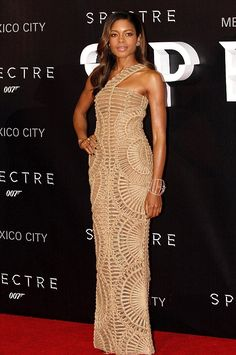 Hot! or Hmm... Naomie Harris's Spectre Mexico City Premiere Balmain Resort 2016 Crochet One Shoulder Gown - Fashion Bomb Daily Style Magazine: Celebrity Fashion, Fashion News, What To Wear, Runway Show Reviews