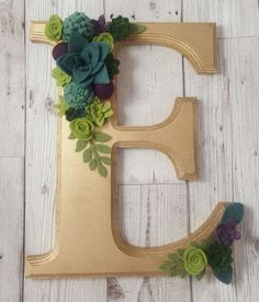 Gold Wooden Monogram Initial Personalised Floral flowers Felt succulents Wall hanging plaque home decor Nursery Birthday Wedding Anniversary