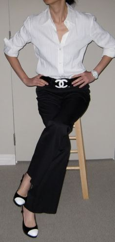 simple & classic - white blouse + Chanel belt + black pants + white & black shoes