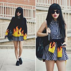 Flame Knit Sweater, Two Piece Grid/Checkered Top And Skirt, Black Suede Creepers, Leather Backpack