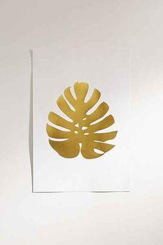 Elsie Von Craft Gold Foil Monstera Leaf Art Print