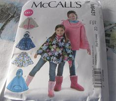 Poncho Childs Sewing Pattern McCalls 6431 New 50 by stephaniesyarn, $6.98