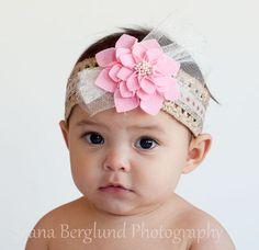 Baby Pink Felt Glitter Headband Tulle Accent, Boho Baby Headpieces, Girl Pink Headband, Wedding Glitter Headband, Newborn Headband (A-03)