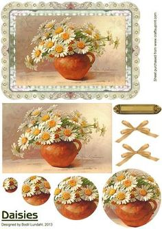 Daisies on Craftsuprint designed by Bodil Lundahl - Here is and easy made pyramide card with a great 3D effect. Its a beautiful vintage image of a lovely bouquette of daisies, and the finished card would be fine for both females and males. The sheet includes 2 copies of an elegant bow and a golden tag for your greeting.  - Now available for download!
