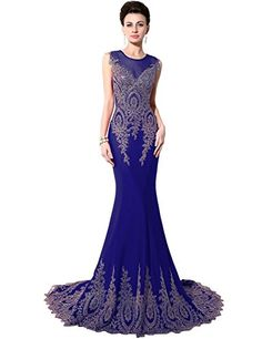 cad25e7967e Sarahbridal Womens Embroidery Lace Prom Dresses Mermaid Formal Evening  Gowns Long Royal Blue US14