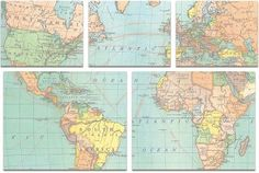 Cavallini Map Sticky Note Set