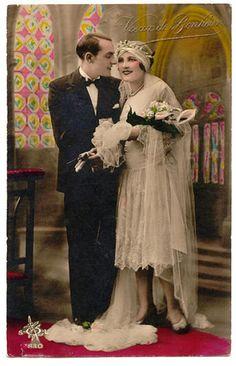 Wedding postcard, 1920s. ¡¡¡€€€€!!!!....http://www.pinterest.com/linnerp/vintage-weddings/