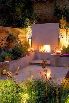 Gardening Autumn - Great little outdoor space with a fireplace and lighting so it can used at night and on warm spring or autumn evenings - With the arrival of rains and falling temperatures autumn is a perfect opportunity to make new plantations