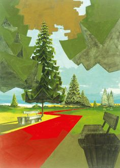 """David Schnell's 2003 tempera on canvas """"Park"""" is featured in """"Made in Germany"""" at the McNay Art Museum. Photo: Courtesy Rubell Family Collection / Courtesy of Rubell Family Collection, Miami Traditional Paintings, Contemporary Paintings, Neo Rauch, Socialist Realism, Art Optical, Web Design, American Artists, David, Painting Lessons"""