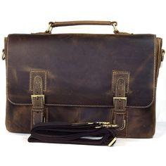 """Vintage Handmade Crazy Horse Leather Briefcase, Messenger, 14"""" Laptop / 15"""" MacBook Bag"""