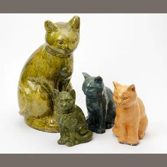 A collection of glazed Ewenny pottery cat and kittens Circa 1910