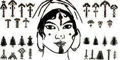North Africa, The Middle East and Balkans-Tunisian Berber facial tattoos ca. Palm tree motifs nahla often in the form of chin markings were thought to induce fertility. Afrika Tattoos, Berber Tattoo, Handpoke Tattoo, Facial Tattoos, Tribal Costume, Muster Tattoos, Incredible Tattoos, Africa Art, Africa Flag