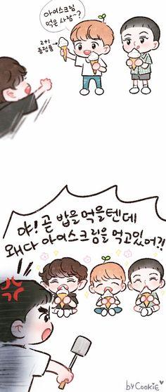 쿠키 (@yooocookie) | Twitter Exo Cartoon, 5 Years With Exo, Exo Album, Exo Fan Art, Korean Language, Kpop Fanart, Chanyeol, All Art, Chibi