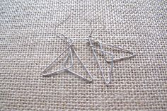 Overlap Triangle Dangle Wire Earrings - Handmade [Silver, Gold, Brass, Copper] by AITOYOU on Etsy