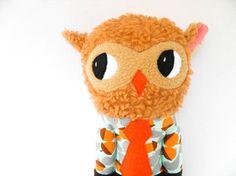 Working boy the retro owl plush softoy woodland by OneLittleRedFox, €38.00