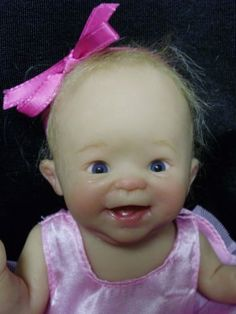 one of a kind polymer clay baby doll by Laura Wambach