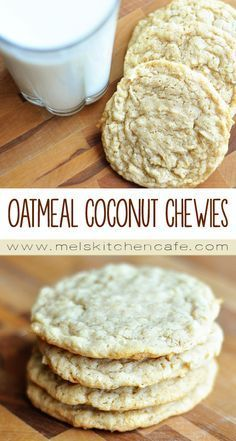 Oatmeal Coconut Chewies - Chewy Candy - Ideas of Chewy Candy - These cookies are buttery soft chewy and freeze wonderfully. Cookie Desserts, Just Desserts, Cookie Recipes, Dessert Recipes, Coconut Recipes, Baking Recipes, Coconut Desserts, Oven Recipes, Healthy Desserts