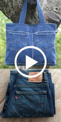Denim Bags From Jeans, Diy Old Jeans, Denim Tote Bags, Denim Purse, Recycle Jeans, Diy Bags Jeans, Diy Tote Bag, How To Make Jeans, Denim Bag Patterns