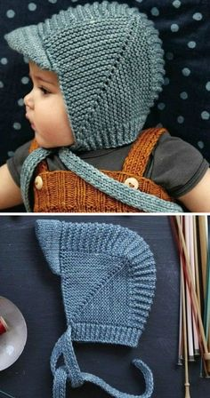 Vintage Baby Bonnet With Visor - Free Knitting Pattern (Beautiful Skills - Croch. Vintage Baby Bonnet With Visor - Free Knitting Pattern (Beautiful Skills - Crochet Knitting Quilting) : Vintage Baby Baby Hat Knitting Patterns Free, Baby Hats Knitting, Vintage Knitting, Baby Patterns, Free Knitting, Crochet Patterns, Free Pattern, Crochet Ideas, Knitted Baby Hats