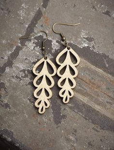 Leaf Laser Cut Wood Earrings  Gold by PigmentAndPine on Etsy, $23.00