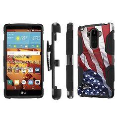 LG G Stylo [LS 770 H631], [NakedShield] [Black/Black] Holster Armor Tough Case - [Flag America Pride] for LG G Stylo LS770