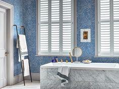 Henley white full height shutters in bathroom