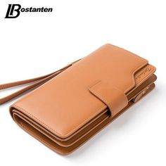Bostanten Real Genuine Leather Women Wallets Brand Design High Quality 2016 Cell phone Card Holder Long Lady Wallet Purse Clutch