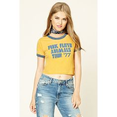 Forever 21 Women's  Pink Floyd Graphic Ringer Tee ($15) ❤ liked on Polyvore featuring tops, t-shirts, graphic design t shirts, graphic print t shirts, forever 21 t shirts, graphic tees and animal tees