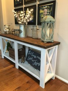 4 Entry Table Decor Farmhouse Entryway 96 - The Effective Pictures We Offer You About country farmhouse decor mirror A quality picture can tell Farmhouse Entryway Table, Country Farmhouse Decor, Rustic Decor, Modern Farmhouse, Rustic Hallway Table, Hallway Tables, Entry Hallway, Farmhouse Furniture, Vintage Farmhouse