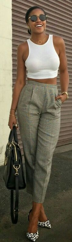 White Midriff and Vintage High Waist Trousers / Fashion by Honey In My Heels