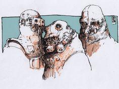 Zerog - Characters by Jan Buragay on ArtStation. Character Inspiration, Character Art, Character Design, Robot Sketch, Ink Pen Drawings, Artist Gallery, Creature Design, Alter, Cyberpunk