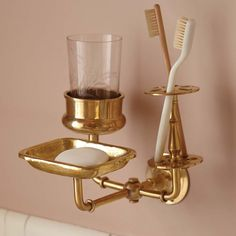 Solid Brass Bath Trio Wall Hanger by Sir/Madam #golden, #hanger, #stylish