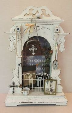Clock case shadowboxes have endless possibilities (they are a bit hard to find for a good price)..... .....this one started out quite damag...