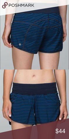 Lululemon tracker shorts Lululemon tracker shorts.2 tone blue striped, 4-way stretch, cool mesh liner, euc lululemon athletica Shorts