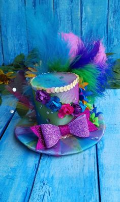 dbd9e2fad4ef9 Rainbow Mini Top hat Fascinator Mini Top hat Headband Flower Mini Top hat  Rainbow Baby Girl Mini Top