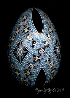 Blue Geometric Ukrainian Easter Egg Pysanky By So Jeo