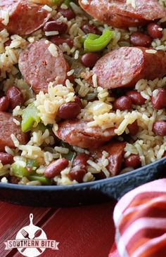One Pot Red Beans and Rice - I'll make this with brown rice instead of white, chicken sausage instead of beef or pork, and low sodium broth.
