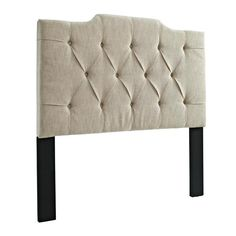 Beige Wood Fabric Tufted Full/Queen Panel Headboard-4/6-5/0