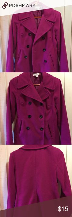 New York and Company Pea Coat Beautiful fuchsia wool/polyester blend pea coat, perfect for fall! Is fairly worn, but clean and warm. Size says xs but it fits like a small so too big for me. New York & Company Jackets & Coats Pea Coats