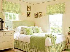 dormitorio cuarto habitacion pintado de crema y verde