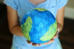 Tissue paper, a Styrofoam ball, and a bit of glue is all you need to make a darling little globe. Visit our blog for a fun DIY Tissue Paper Globe craft!