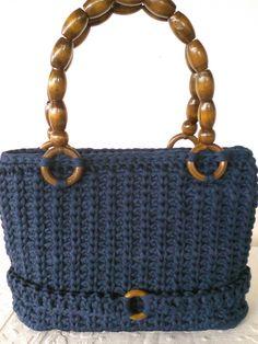 Bag BlUE NaVy handles with olive in wood Borsa blu di JustForYouhm