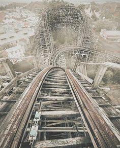 Abandoned wooden roller-coaster