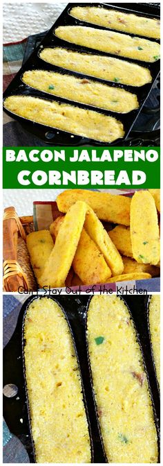 Savory and delicious cornbread recipe using gruyere cheese, bacon, and jalapeno peppers. These are baked in corn stick pans. Sweet Potato Cornbread, Moist Cornbread, Honey Cornbread, Jalapeno Cornbread, Chili And Cornbread, Jalapeno Recipes, Mexican Cornbread, Jalapeno Cheddar, Stuffed Jalapenos With Bacon